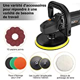 Polisseuse, TACKLIFE 1500W Machine à polir, Polissage, Vitesse Variable avec Affichage à Écran de LED, Tampon du Soft-Start et Orbite, 180mm Polissage de Tampon/ Disque de Laine | PPGJ01A