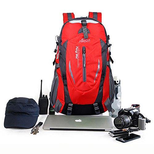 ohome Wandern Rucksack/Tasche wasserdicht groß leicht Reisen Rucksack/Camping Rucksack/Trekking Rucksäcke Outdoor Sport Klettern Bergsteigen Tasche 40L Rot