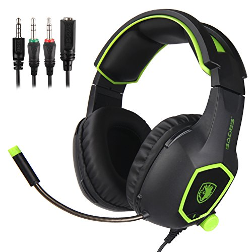 SADES SA818 Xbox One PS4 Auriculares para juegos de PC Gaming Over Ear Auriculares con micrófono para PS4, PS4 PRO, Xbox One, Xbox One S, Laptop Mac Tablet iPhone iPad iPod (negro y verde)