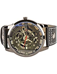 MHE Round Shapped Dial Black Denim Strap Party Wedding | Casual Watch | Formal Watch | Sport Watch | Fashion Wrist Watch For Boys and Men