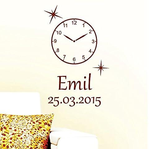 """Wandtattoo Loft """"Uhr mit Wunschname und -datum"""" / Extra Uhr für das Wandtattoo """"In diesem Momenten stand unsere Zeit kurz still..."""" / Wandtattoo / Wandaufkleber / 54 Farben / 3 Größen / violett / 34 cm hoch"""