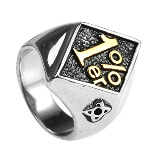 Bishiling Modeschumck Männer Ring Edelstahl mit Gravur mit Gravur Nummer 1 ER Schwarz Herrenring Silber Ring Größe 70 (22.3)