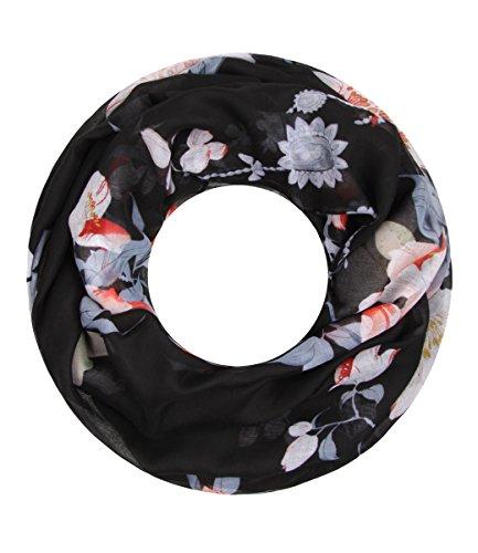Majea super weicher Damen Loop Schal viele Farben Muster Schlauchschal Halstuch in aktuellen Trendfarben (schwarz 26)