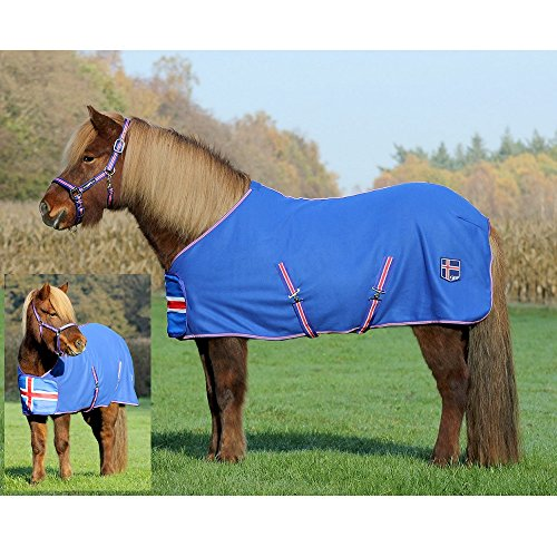 netproshop Island Pferdedecke hochwertige Fleecedecke Abschwitzdecke in den Islandfarben, Groesse:125, Farbe:blau
