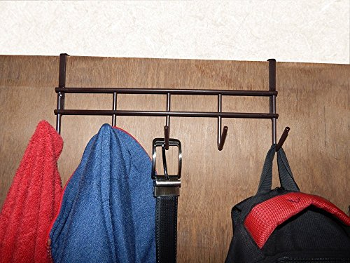 BnoShopperz 5 Hook Over The Door Hanger, Durable & Strong Hanging Organizer Rack For Clothes (Brown)