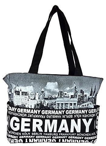 Robin Ruth Canvas Umhängetasche GERMANY in schwarz/weiß (Maße: LxHxT 36x28x11cm)