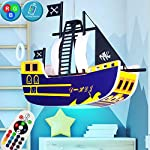 Hanging lamp Light Kids Pirate Ship Game Room Remote Control Set Including RGB LED Light Source