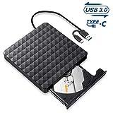 Masterizzatore DVD CD Esterno,USB 3.0 Tipo C CD/DVD/Rom Portatile unità Ottiche Esterne Lettore,Ultra Slim Alta velocità Disc Registratore per PC Portatile Compatibile con Windows 10/8/7/Linux/Mac OS