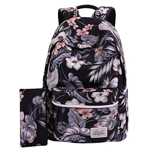 Mocha weir JIAYBL Laptop Taschen Schultern Kinder Schultaschen Rucksack Hochschule Mädchen Canvas Pack reisen (Schwarze Rosen) (Mocha Mädchen)