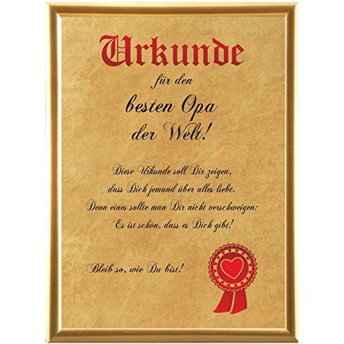 Urkunde für den besten Opa der Welt ... (Elefantenhautpapier + Bilderrahmen)
