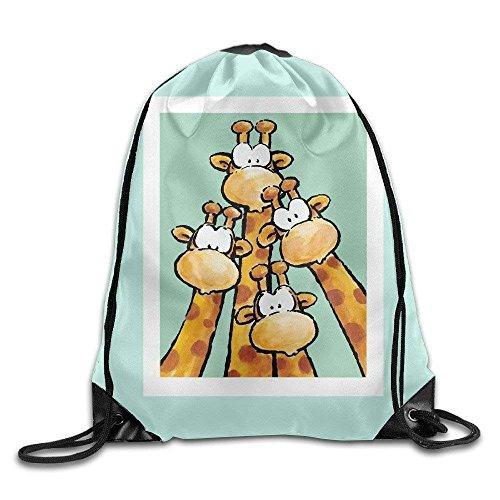 HLKPE Cool Drawstring Backpack Cute Giraffe Art Design Print Drawstring Backpack Rucksack Shoulder Bags Gym Bag