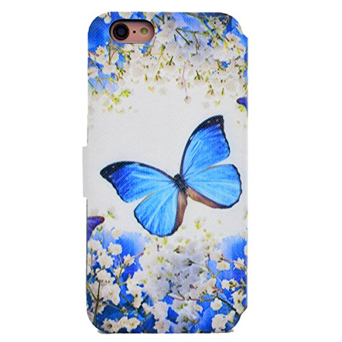 Custodia iPhone 6 Plus, iPhone 6S Plus Cover Wallet, SainCat Custodia in Pelle Flip Cover per iPhone 6/6S Plus, Ultra Sottile Anti-Scratch Book Style Custodia Morbida Cover Protettiva Caso PU Leather  Farfalla di Fiori