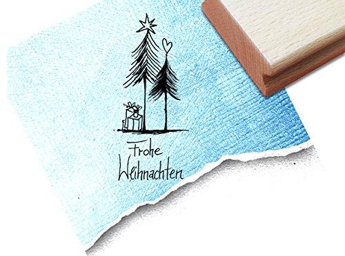 STEMPEL - x17b 5 - Weihnachtsstempel - Geschenke unterm Tannenbaum mit Frohe Weihnachten - Textstempel Motivstempel Bildstempel von zAcheR-fineT
