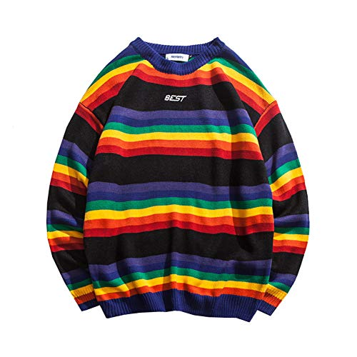 ZWZH Men es Rainbow Sweater Round Neck Pullover Knit Striped Jumper Loose Hip Hop Long Sleeve Color Striped Sweater Male Spring,M -