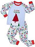 Backbuy Bébé Enfant Garçon Fille Long Bleu Pyjama Vêtements de Nuit Joyeux Noël le père noël I Love Santa (9-10 ans)