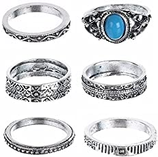 Shining Diva Fashion Antique Silver Set of 6 Midi Finger Rings for Girls(Silver)(8450r)