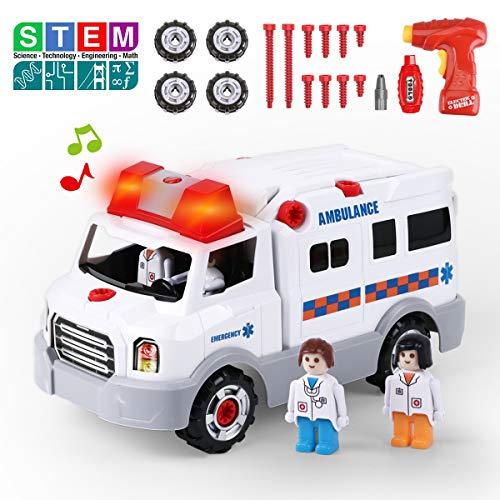 REMOKING Kinder Spielzeug Auto - Montage Ambulanz Lernspielzeug, Doktor Rollenspiel Fahrzeug Spielsets, Drill Konstruktionsspielzeug, Elektrisches Krankenwagen mit Licht & Ton, STEM Spielzeug Geschenk