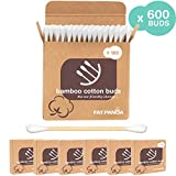 Bamboo Cotton Buds Ear Qtips by FAT PANDA ● 600 Buds ● Organic Bamboo Ear Buds ● Wooden Qtip Bamboo Stems & Makeup Cotton Swabs ● 100% Biodegradable ● No Plastic ●