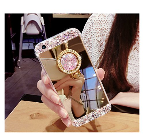 Coque iPhone SE, Coque iPhone 5S, Étui iPhone SE, Étui iPhone 5S, ikasus® Coque iPhone SE/iPhone 5S Silicone Étui Housse Téléphone Couverture TPU avec [Diamant Ring Stand Support] Miroir brillant Blin Or