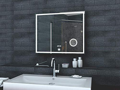 Lux-aqua Salle de Bains Miroir Miroir Mural Miroir Lumineux Horloge Miroir LED Interrupteur Tactile – lmc0860 a 80 x 60 cm