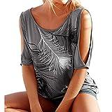 hibote Mujer Camisa Plus size Camiseta mujeres Blusas manga corta Casual Sling Tops Camisas de estampado floral Top suelto