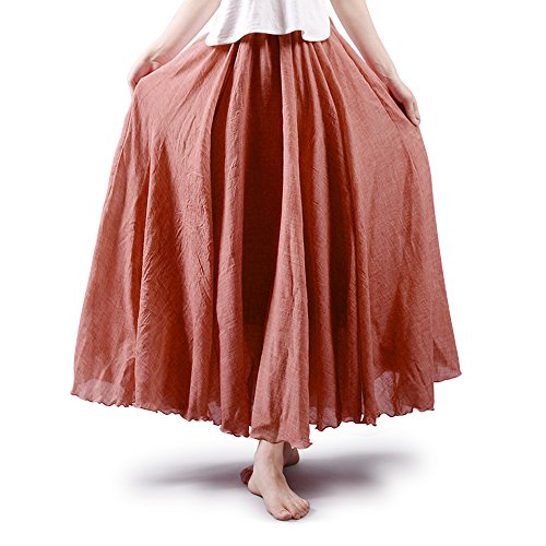 OCHENTA - Donne in Stile Bohemian Elastica Band Cotton Lino Lungo Maxi Gonna Rust Red 95CM