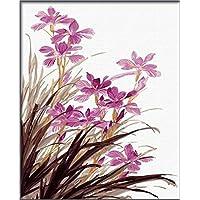 PaintingStudio Pink Orchid Fiori DIY Dipinto di corredi di numeri digitale olio immagine 16x20 pollici senza cornice