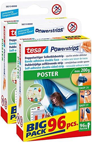 Tesa Powerstrips Lot de 96 bandes adhésives pour poster POSTER, Big Pack 96 Stück