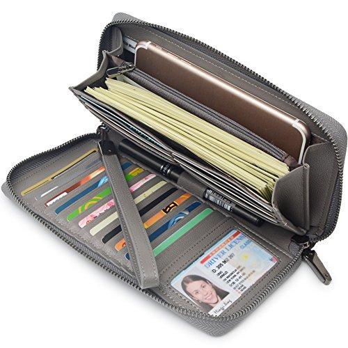 Echtes Leder Brieftasche Id Brieftasche (Portmonee Damen mit RFID Schutz Geldbeutel, Portemonnaie, Geldbörse, Brieftasche, Damengeldbeutel, Damengeldbörse lang groß viele fächer Leder Reissverschluss (Grau))