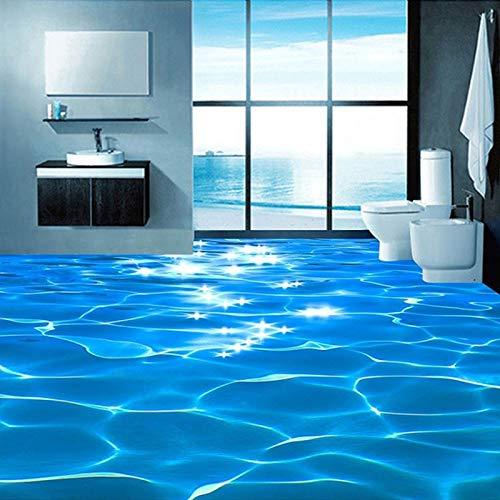 Syssyj Benutzerdefinierte Wandbild Tapete 3D Sea Wave Texturierte Bad Pvc Selbstklebende Wasserdichte Boden Tapete Wandverkleidung Rolle Wohnkultur-280X200CM (Wandverkleidungen Für Bäder)