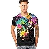 Jungen Männer Herren Sommer T-Shirts Tops Buntes Printed Tee Bluse GreatestPAK,Schwarz,M