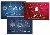 Weihnachtskarten-Set Grußkarten Weihnachten Weihnachtspostkartenset lustig rustkal (30 Stück) comics Weihnachts-Postkarten witzig Elch Weihnachtsmann Tannebaum Vintage Kunst modern ausgefallen Holz