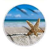 Tappeto A Palla Piccola-Nuovo Picnic Mat con Frange Grande Rotondo Cuscino da Spiaggia Multifunzionale Scialli Sciarpa Avvolta all'Esterno Seaside Holiday Beach Mat150CM