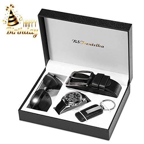 BSTcentelha Herren-Armbanduhr, Kunstleder, Quarz, analog, Gürtel, Schlüsselanhänger, Sonnenbrille, Geschenkset, Dunkelblau