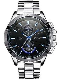Mode Beiläufig Herrenuhren - Luxus Edelstahl Armband Leuchtend Kleine Dekorative Zifferblätter Quarz Armbanduhren für Herren, Schwarz Zifferblatt