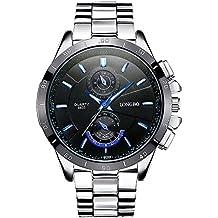 Moda Casual Relojes para Hombre - Correa de Acero Inoxidable de Lujo Luminoso Pequeños Diales Decorativos