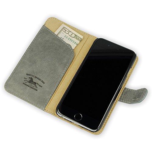"""QIOTTI >             APPLE iPHONE 6 PLUS / 6S PLUS (5,5"""")             < incl. PANZERGLAS H9 HD+ 2-in-1 Booklet mit herausnehmbare Schutzhülle, magnetisch, 360 Grad Aufstellmöglichkeit, Wallet Case Hülle Tasche handgefertigt  GRAU"""