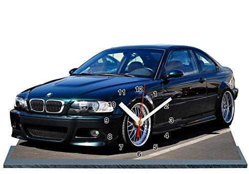 VOITURE MINIATURE BMW M3 E46 NOIR EN HORLOGE MINIATURE SUR SOCLE 02