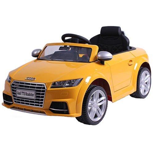 SIMRON-AUDI TT S tts Cabriolet Elektro Kinderauto Kinderfahrzeug Ride-On 12V Kinder Elektroauto (Gelb)
