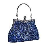 EULovelyPrice Damen Vintage Perlen und Pailletten Abendtasche Hochzeit Handtasche Clutch Handtasche (Blau)