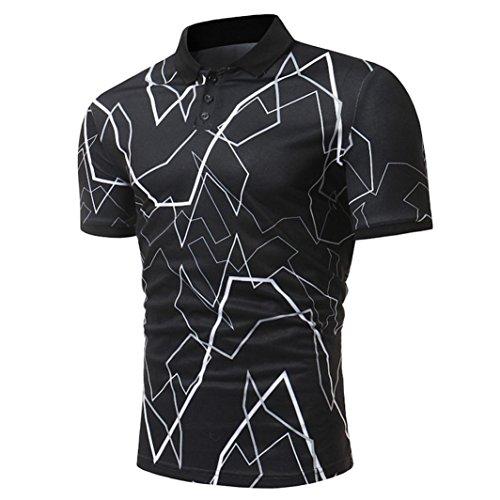 Herren Polo Shirt Hemd Knöpfe Design Halb Cardigans Slim Fit Casual T-Shirt GreatestPAK,M,Schwarz