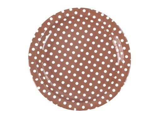 Pappteller Dots, braun mit weißen Punkten, D: 23 cm, 10 Stück, Partygeschirr Polterabend Grillfeier, Partygeschirr Polterabend Grillfeier