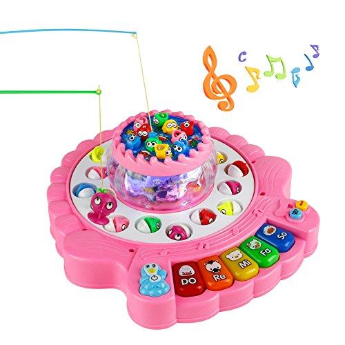 Angelspiel, Musik Spiel mit Aquarium 4 Angeln Rute Angeln Spielzeug, Fishing Spiel Games Piano Musik Spiel Geschenk für Kinder ab 3 Jahre