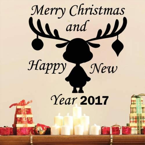 zhuziji Deer Pattern Wall Decal Merry Christmas and Happy New Year 2017 Vinyl Wall Sticker Window Home Decor Kids Rooms AR 57x57cm