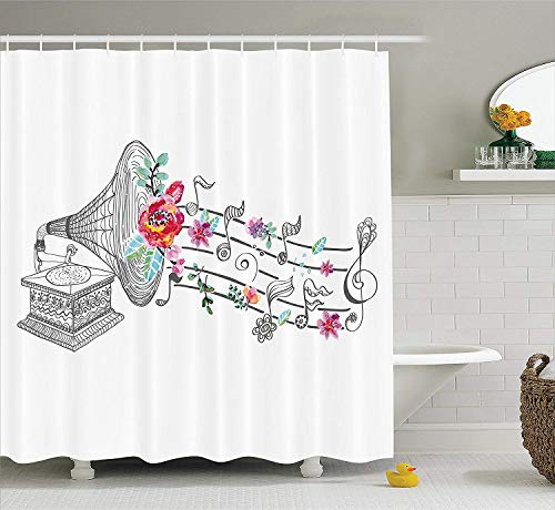 HiExotic Duschvorhang Whimsy Music Decor Shower Curtain Vintage Gramophone Record Player with Floral Ornament Blossom Antique,Non-Toxic Waterproof Decor,Grey Pink,60X72In