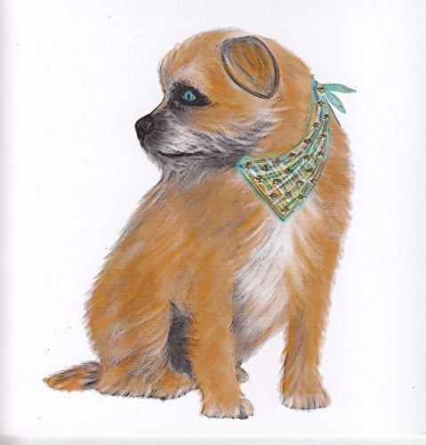 Englisch Grafik-Glitzer Hund Grußkarte-Border Terrier -