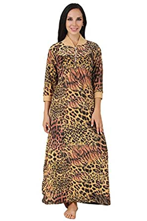 Fasense Exclusive Women Woollen Winter Nightwear Sleepwear Long Nighty, DP160 (Large, Fawn & Black)