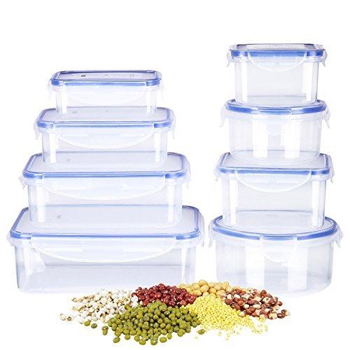 DEIK Frischhaltedosen Aufbewahrungsbox Vorratsdosen Set,8 containers with lids,BPA-Frei Lunchbox Bentobox mit verstärkter wDeckel,Geeignet für Mikrowelle,Gefrierschrank und Spülmaschine
