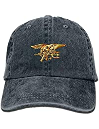 Aoliaoyudonggha US Navy Trident Seal Unisex Adjustable Cotton Denim Hat  Washed Retro Gym Hat Cap Hat c949dd68974