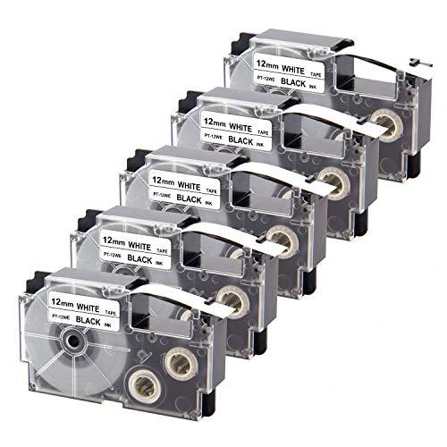 UniPlus 5er EZ-Label Etikettenband XR-12WE XR12WE Schriftband Selbsthaftend Kompatibel für Casio KL-60 70E 100 100E 120 200 200E 300 750 780 820 2000 Beschriftungsgerät, 12mm x 8m Schwarz auf Weiß
